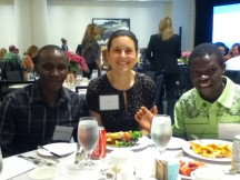 SPES' Julie Sabau with BMO Marathon winners Thomas Omwenga and Benard Onsara