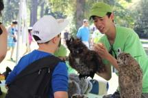 Volunteer shows child owl puppet
